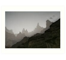 Fog in mountains (Afghanistan) Art Print