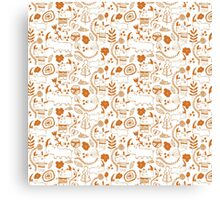 Happy orange rhino Canvas Print