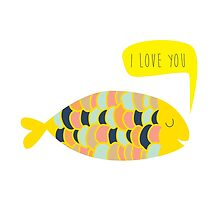 """i love you"" fish - matches with ""i know"" fish by laurathedrawer"