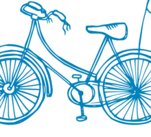 Hipster bicycle - blue - matches with orange bicycle Sticker