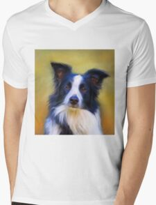 Taj - Border Collie Mens V-Neck T-Shirt