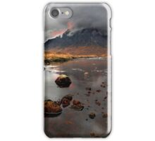 Sun sets behind Buachaille Etive Mor at Glencoe Scotland iPhone Case/Skin