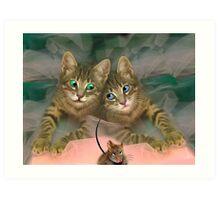 Cat, mouse, pussy, pleasure, joy, pink, food, eyes, animals, cute, love, smile Art Print