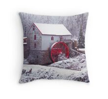 Snow at the Old Mill Throw Pillow