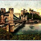 Castle and Suspension Bridge, Conway (Conwy) Wales by Dennis Melling