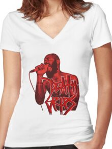 Death Grips | Colour Red Women's Fitted V-Neck T-Shirt