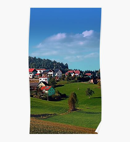 Rural hillside village panorama | landscape photography Poster