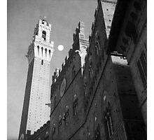 Rising moon, Torre del Mangia, Siena Photographic Print