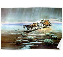RAINY NIGHT STAGECOACH by SHARON SHARPE Poster