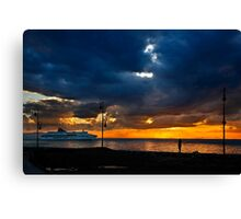 Watching the ships go by Canvas Print