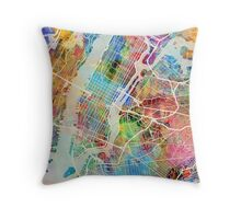 New York City Street Map Throw Pillow