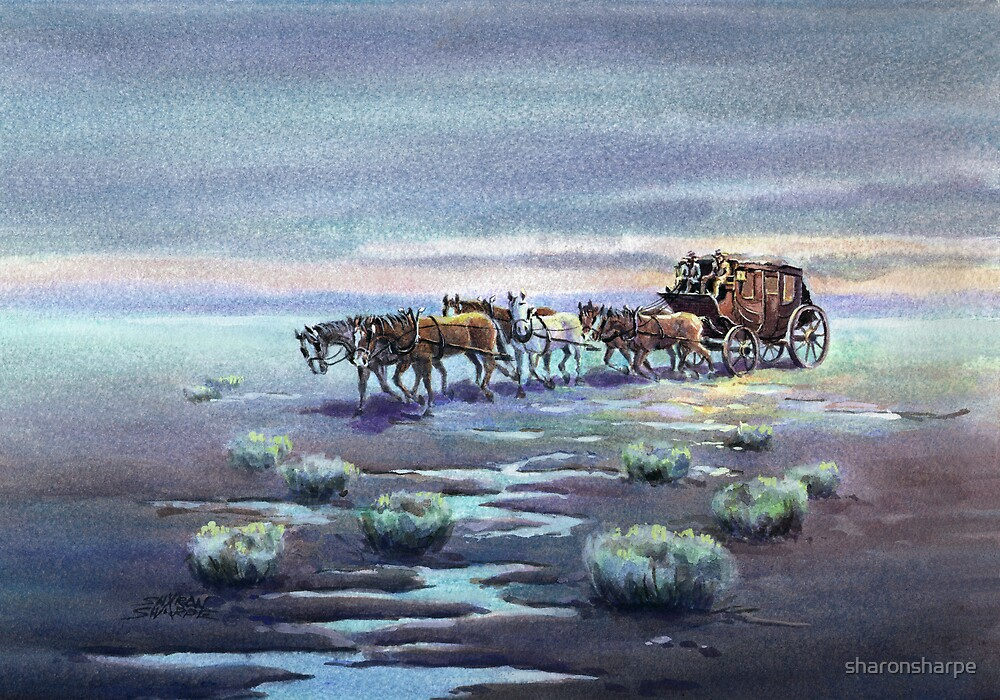 LATE AFTERNOON STAGECOACH by SHARON SHARPE by sharonsharpe