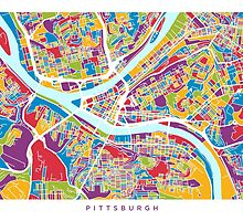 Pittsburgh Pennsylvania Street Map by Michael Tompsett