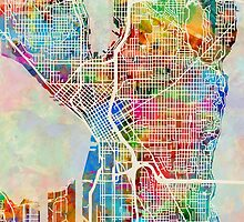 Seattle Washington Street Map by Michael Tompsett