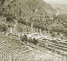 Temple of Apollo and Theatre, Delphi 1960, Gold-toned by Priscilla Turner