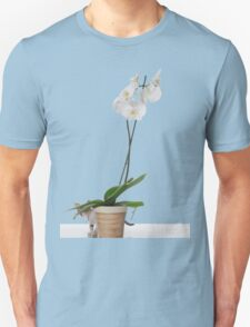 White Phaleanopsis Orchid on white background with kitten  T-Shirt