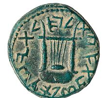 Bronze coin from the Shimon Bar Kokhba revolt 132-135 AD by PhotoStock-Isra