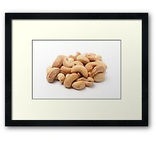 Roasted Cashew Nuts On white Background Framed Print