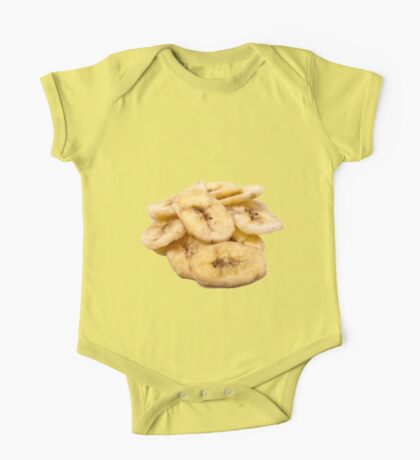 Dried banana slices On white Background  One Piece - Short Sleeve
