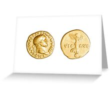 The Emperor and Nike. Roman gold coin  Greeting Card