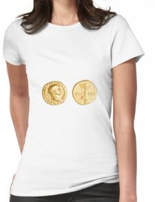 The Emperor and Nike. Roman gold coin  Womens Fitted T-Shirt