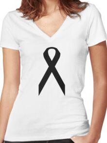 Melanoma Awareness ribbon Women's Fitted V-Neck T-Shirt