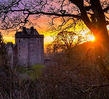 Sunset over Castle Campbell by Jeremy Lavender Photography