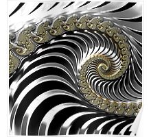 SILVER FRACTAL , 3D, heavy metal SKINS, GIFTS, DECOR  Poster