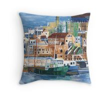 Jaffa fishing port Throw Pillow