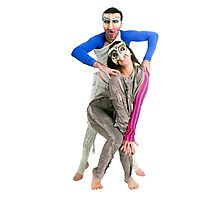 Masked actors in a physical theatre Photographic Print