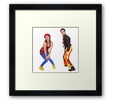 comic 70s style couple disco dancing  Framed Print