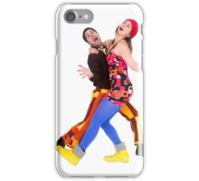 comic 70s style couple disco dancing  iPhone Case/Skin