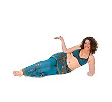 reclining Egyptian style Belly dancer hands stretched out by PhotoStock-Isra