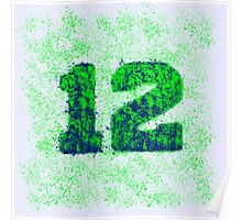 Abstract Twelve Team Spirit - Green On Blue Poster