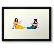 Belly dancer offers her hand On white Background Framed Print