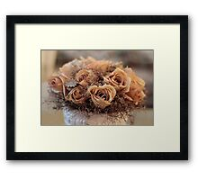Dried Roses Flower Arrangement  Framed Print