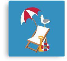 Block Blue Seagulls Canvas Print