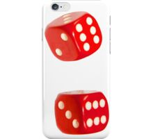 Two red lucky dice double six on white background iPhone Case/Skin