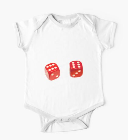 Two red lucky dice double six on white background One Piece - Short Sleeve
