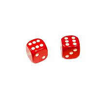 Two red lucky dice double six on white background by PhotoStock-Isra