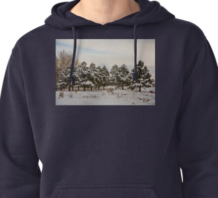 Snowy Winter Pine Trees Pullover Hoodie