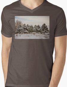 Snowy Winter Pine Trees Mens V-Neck T-Shirt