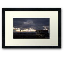 RV on a dark Wyoming Evening Framed Print