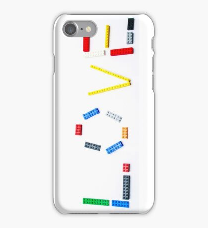 Love written with a child's colourful building blocks iPhone Case/Skin