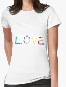 Love written with a child's colourful building blocks Womens Fitted T-Shirt