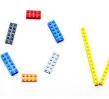 Love written with a child's colourful building blocks Sticker