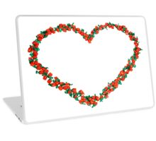 Heart shape formed from sweets on white background  Laptop Skin