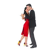 Couple dances tango On white Background by PhotoStock-Isra