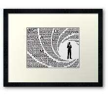Iconic James Bond Typography Art Framed Print