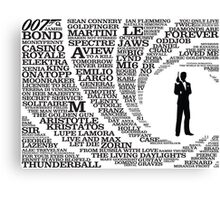 Iconic James Bond Typography Art Canvas Print